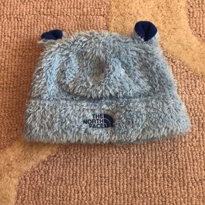 North Face blue bear fleece hat XS 6-24m